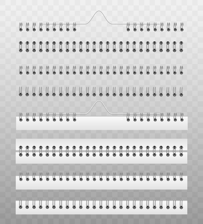 Muelle helicoidal para sujetar papeles de calendario o cuaderno - conjunto de ilustraciones vectoriales realistas de plantillas de maquetas. Lomo de libro realizado con sistema de encuadernación en espiral de alambre metálico o plástico. Ilustración de vector