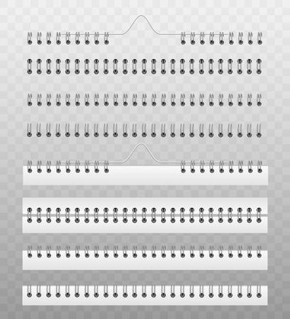 Spiralfeder zum Befestigen von Kalender- oder Notizbuchpapieren - realistischer Vektorillustrationssatz von Modellvorlagen. Buchrücken aus Metall- oder Kunststoffdraht-Spiralbindungssystem. Vektorgrafik