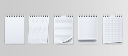 Creative vector illustration of realistic notebooks lined and dots paper page isolated on transparent background. Art design clean spiral notepad blank mockup template.