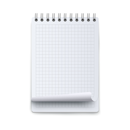 Spiral notebook or calendar checkered sheet blank mockup 3d flat vector illustration isolated on white background. Empty paper on ring binder or personal organizer. Reklamní fotografie - 122416821