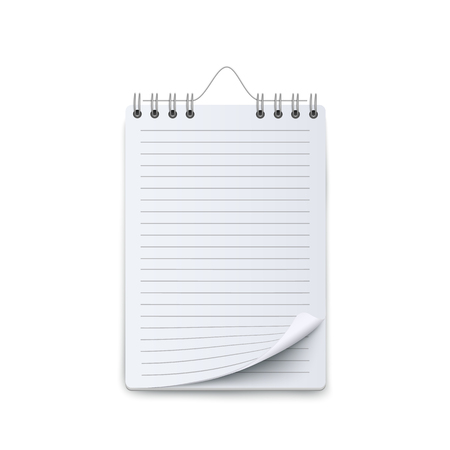 Spiral ruled notebook or calendar sheet blank mockup 3d realistic flat vector illustration isolated on white background. Empty paper on ring binder or personal organizer. Illustration