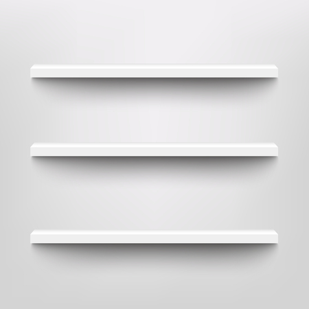 Vector white shelves for exhibition or market store product display. Blank home interior book stand, simple office furniture, retail store shelf with shadow mockup. Ilustração