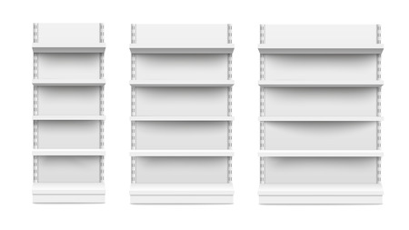 Empty stand retail shelves three diferent size pieces mockup isolated on white background. Supermarket product advertising blank and POS display mockup front view vector illustration.