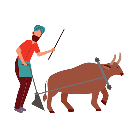 Indian farmer male with plough and cattle animal in yoke flat cartoon style, vector illustration isolated on white background. Man plowing agricultural field with bull or buffalo Illustration