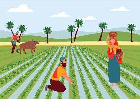 Indische männliche und weibliche Landwirte, die im flachen Cartoon-Stil des Reisfeldes arbeiten, Vektorillustration auf Landschaftshintergrund. Mann, der Ackerland mit Büffel pflügt, Frau mit Tontöpfen