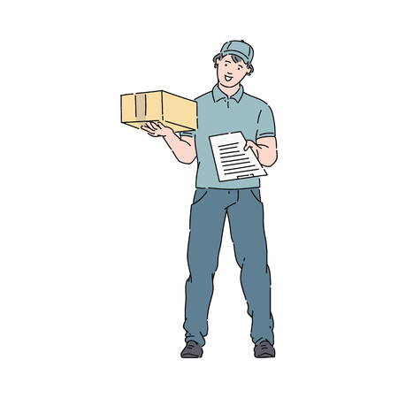 Delivery man or courier in uniform and cap holds a post boxe and clipboard vector illustration isolated on white background. Mail service icon in sketch or cartoon style.