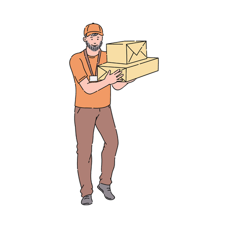 Delivery man or courier in orange uniform and cap giving cardboxes. Package and delivery worker cartoon icon vector illustration isolated on the white background.