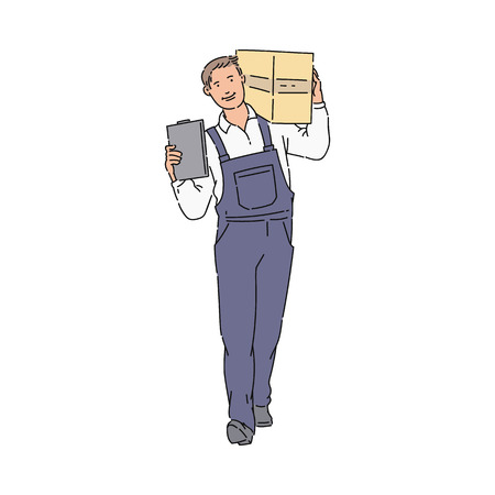 Delivery Man or courier with box and clipboard in blue uniform overall sketch. Package and delivery worker cartoon icon vector illustration isolated on the white background.