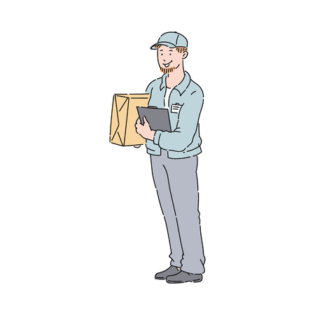 Delivery Man or courier with box and clipboard in blue uniform jacket and cap sketch. Package and delivery worker cartoon icon vector illustration isolated on the white background.