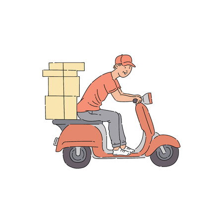 Delivery man riding scooter with boxes, young male courier cartoon character sitting on motorcycle vehicle delivering parcels, comic sketch style vector illustration isolated on white background Vector Illustratie