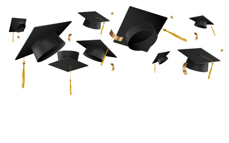 University or college caps fly in the air in a moment of celebration vector illustration isolated on white background. Banner template with hats for graduation ceremony.