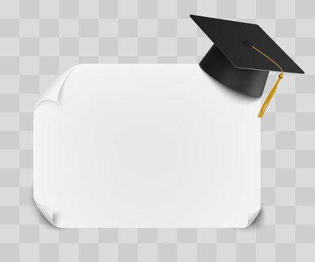 College or university graduation cap and diploma blank sheet mockup background design. Graduation Award Student ceremony template vector illustration isolated on white.