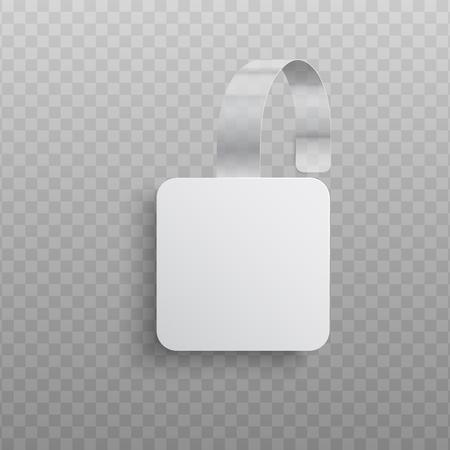 Vector illustration of realistic custom promotional advertising wobbler of square shape isolated on transparent background - white blank dangler for supermarket sale announcement. Illustration