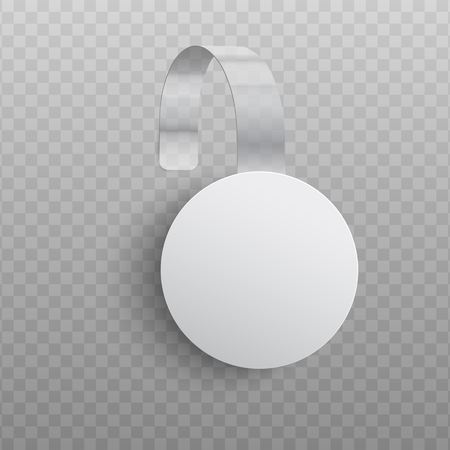 Vector illustration of realistic custom promotional advertising wobbler of round shape hanging on wall isolated on transparent background - white empty dangler for supermarket sale announcement.