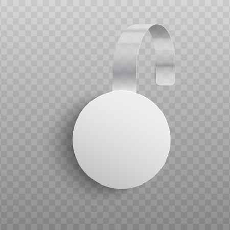 Vector illustration of realistic custom promotional advertising wobbler of round shape. White empty dangler for supermarket sale announcement hanging on wall isolated on transparent background.