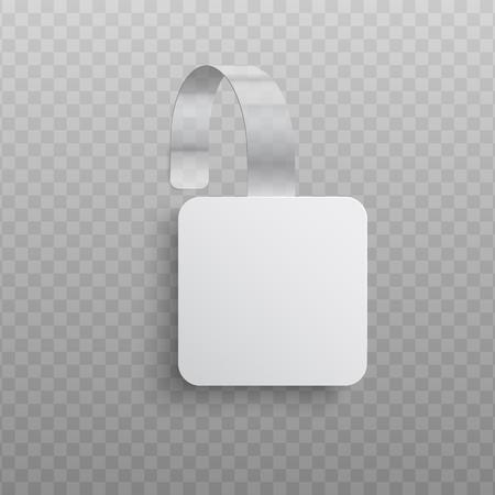 Ilustracja wektorowa realistyczne niestandardowe reklamy promocyjne wobler o kwadratowym kształcie. Białe puste dangler do ogłoszenia sprzedaży supermarketu na przezroczystym tle. Ilustracje wektorowe