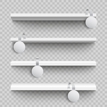 Empty white shop shelves with round custom promotional advertising wobblers mockup in realistic style isolated on transparent background - vector illustration of supermarket sale announcement.
