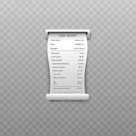White curled paper bill or bank atm dispenser invoice going out from slit in realistic style isolated on transparent background - vector illustration of shopping receipt or retail ticket.