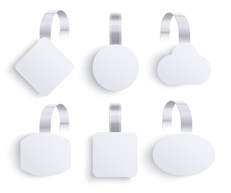 Vector white point of sale wobbler tag set. Supermarket promotions, store pricing, product advertising sticker background template. Retail discount round label, empty paper advertisement mockup.