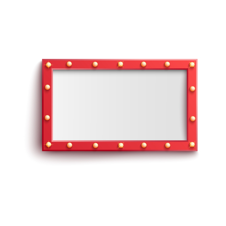 Vector light bulb red vintage frame. Retro casino, nighclub signage, cinema mirror decoration. Glowing lamps bright banner background. Empty signboard for festival, circus decor. Isolated illustration 일러스트