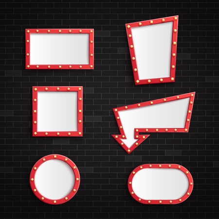 Vector illustration set of retro red blank frames with illuminated light bulbs on dark brick wall background in realistic style. Signboard with shining lamps and white copy space.
