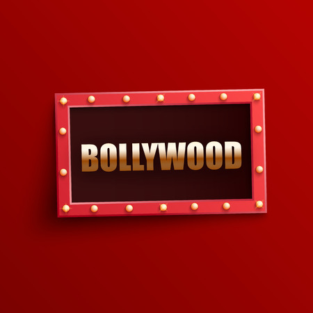 Bollywood indian cinema signboard with shining light bulbs in realistic style - red glowing frame with golden sign in isolated vector illustration. Illuminated announcement banner of film festival.
