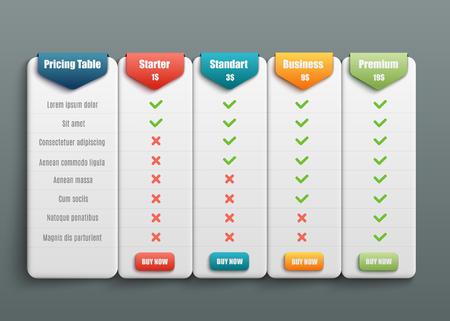 Vector abonnement prijzen en tarieven vergelijking voor websites. Business biedt sjabloon met gebruiksvriendelijke interface, knoppen en webelementen.