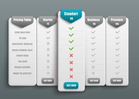 Preis- und Tarifvergleich von Vector-Abonnements für Websites. Business bietet Vorlage mit benutzerfreundlicher Oberfläche, Schaltflächen und Webelementen. Vektorgrafik