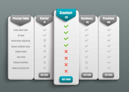 Vector subscription plan pricing and tariffs comparison for web sites. Business offers template with user friendly interface, buttons and web elements.