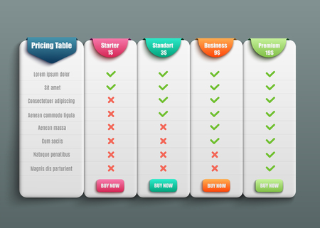 Tabella dei prezzi per quattro prodotti o servizi con descrizione in stile realistico 3d - illustrazione vettoriale isolata del grafico di confronto di vari modelli di business plan per il sito web.