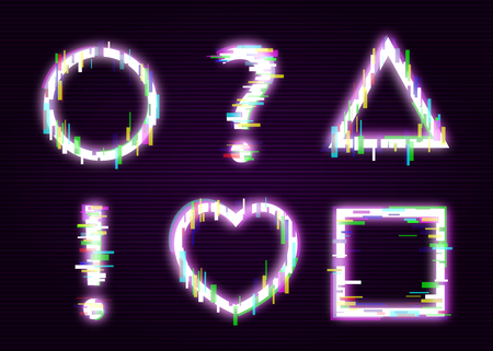 Set of neon shapes with glitch effect abstract style, vector illustration isolated on black background. Glowing distorted glitch geometric frames and question mark and exclamation point