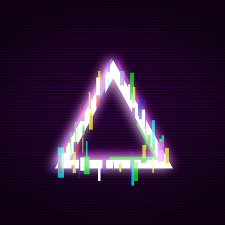 Neon square with glitch effect abstract style, vector illustration isolated on black background. Illuminated distorted glitch trigon frame, modern glowing digital or graphic design element