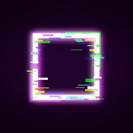 Neon square with glitch effect abstract style, vector illustration isolated on black background. Illuminated distorted glitch quadrate frame, modern glowing digital or graphic design element  イラスト・ベクター素材
