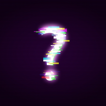 Neon question mark with glitch effect abstract style, vector illustration isolated on black background. Illuminated distorted glitch interrogation mark, modern glowing design element Illustration