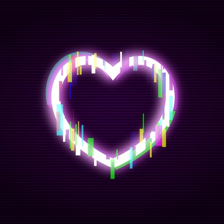 Neon heart with glitch effect abstract style, vector illustration isolated on black background. Illuminated distorted glitch heart frame, modern glowing love design element