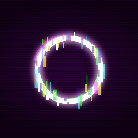 Neon circle with glitch effect abstract style, vector illustration isolated on black background. Illuminated distorted glitch circle frame, modern glowing digital or graphic design element