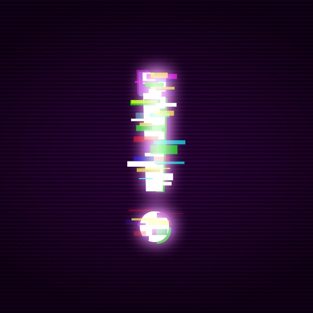 Neon exclamation mark with glitch effect abstract style, vector illustration isolated on black background. Illuminated distorted glitch exclamation point, modern glowing design element Illusztráció