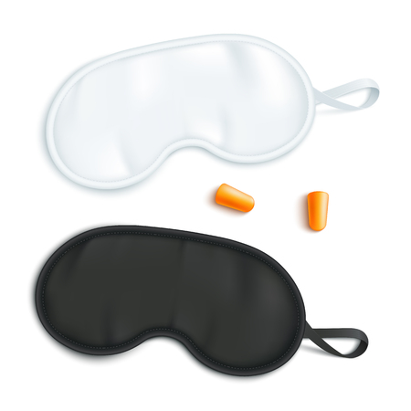 White and black sleeping mask mockup with pair of earplugs in realistic style - isolated vector illustration of blindfold for travel rest and healthy eye relaxation at night.