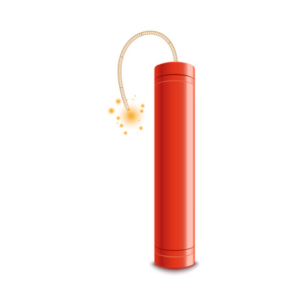 Red dynamite stick with lit fuse ready to explode. Fire spark burning on a wick approaching explosive bomb, realistic isolated vector icon illustration on white background Illustration