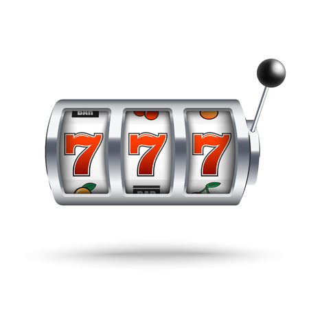 Silver slot machine with lucky three sevens jackpot in realistic style isolated on white background. Vector illustration of casino gambling one arm bandit and fortune chance. Фото со стока - 122280797