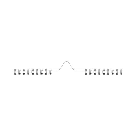 Spirale di ferro vettoriale per fogli di carta. Raccoglitore a molla, anelli per calendario, documenti, rilegatura diari. Divisorio per fogli di fissaggio, elemento di design per forniture per ufficio, illustrazione isolata
