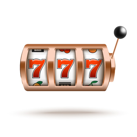 Bronze slot machine with lucky combination of three sevens in realistic style. Vector illustration of casino gambling one arm bandit - fortune chance jackpot isolated on white background. Stock Illustratie