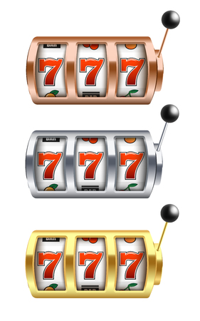Vector illustration set of slot machine with lucky combination of three sevens in realistic style. Various colors casino one arm bandit gambling fortune jackpot chance isolated on white background.