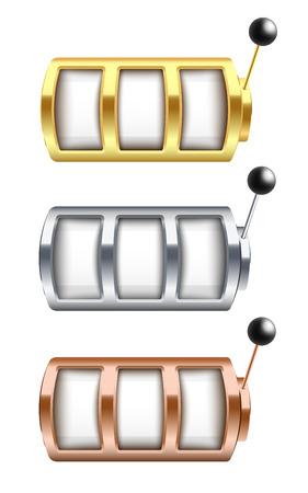 Vector illustration set of golden, silver and bronze jackpot gambling machine with empty slots in realistic style - isolated vector illustration of casino one arm bandit for win and prize concept. Stock Illustratie