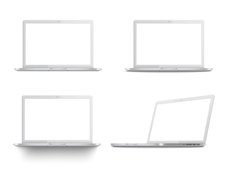 Set of white laptop mockups, realistic templates with blank screen from different angles, four positions of modern portable computers - isolated vector illustration on white background