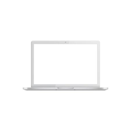 Computer portatile bianco con schermo vuoto, mockup realistico di computer portatile moderno argento aperto, modello vuoto di apparecchiature digitali mobili. Illustrazione vettoriale isolato su sfondo bianco