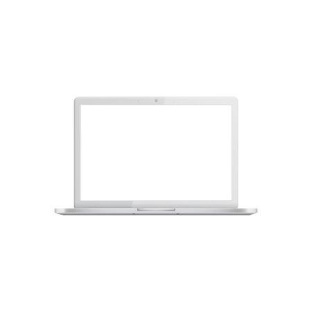 White laptop with blank screen, realistic mockup of open silver modern portable computer, empty template of mobile digital equipment. Vector illustration isolated on white background Çizim