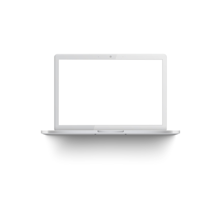 White laptop mockup with blank screen, front view of realistic 3d silver with empty monitor and shadow underneath, modern technology equipment. Isolated vector illustration on white background