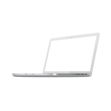 White laptop screen mockup from side view, metallic silver computer with blank monitor space, modern notebook equipment shown sideways with ports, isolated vector illustration on white background