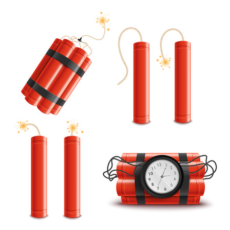 Set of dynamite sticks isolated on white background, red sticks with burning fuses and explosion timer. Realistic cartoon style vector illustration of explosive objects and danger icons. Vettoriali